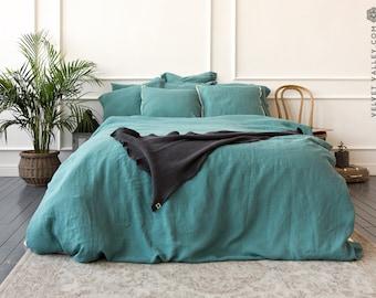 Linen teal blue duvet cover- stone washed linen dusty turquoise duvet cover - Queen/king size duvet-softened linen duvet cover