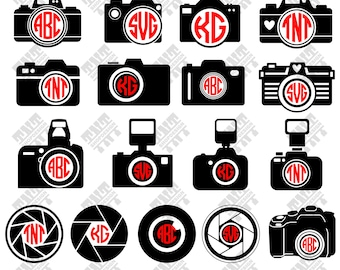 Camera svg - Camera monogram - Camera monogram digital clipart for Print, Design or more , files download svg, png, dxf