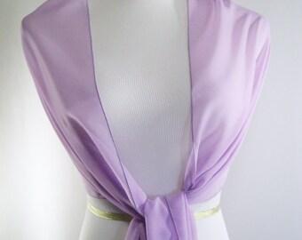 Evening Wrap - Lavender - Shawl Scarf - French Lavender Stole - Violet Lavender Chiffon- Pashmina - One Shoulder Drape - Extra Long
