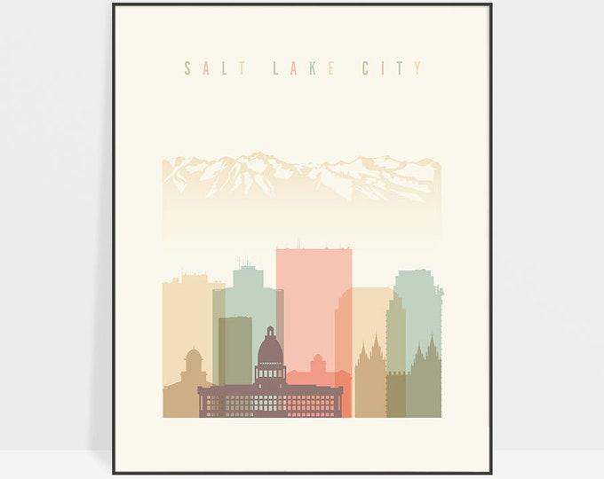 Salt Lake City Wall Art Print, Utah cityscape, Salt Lake City Skyline, City poster Typography art Home Decor Digital Print ArtPrintsVicky