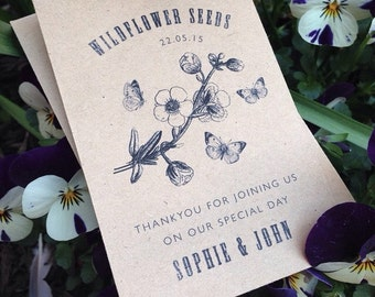 50 Personalised vintage style seed packet favours
