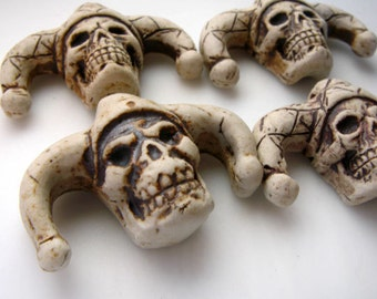 10 Highfired Jester Skull Pendants/Beads - peruvian beads, high fired beads, ceramic beads, skull beads, halloween beads - HIFI 154