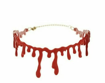 Bloody neck choker- Horror- Gothic- Halloween- Zombie- chokers- vampire- gore- weird- special effects-