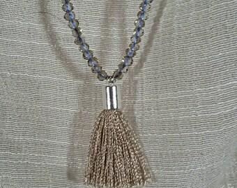 Gray Crystal Tassel Necklace