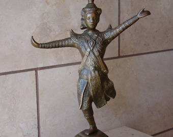 "Antique/Old Vintage Bronze/Solid Brass Asian Man Dancing Hindu Figurine 15 1/8""Tall"