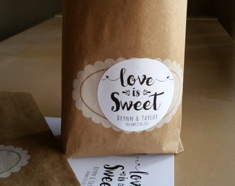 20 Love is Sweet stickers - Personalized Candy buffet labels - wedding favor stickers