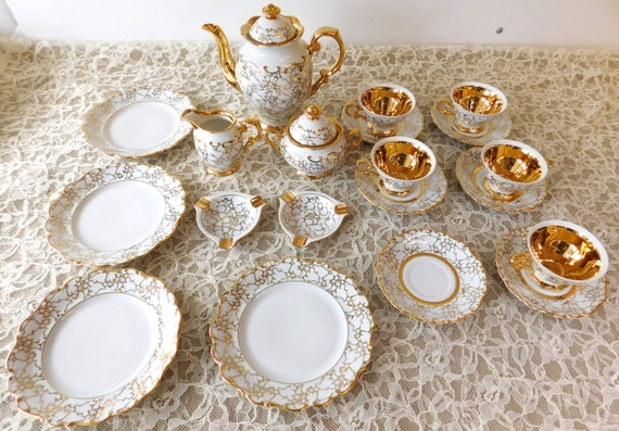 & Vintage HAUS DRESDEN 22 Piece Tea Set 24K gold trim 1954 West