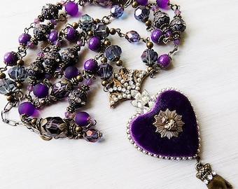 Ex voto, Ex voto heart, Ex voto necklace, Purple heart, baroque necklace, Catholic necklace,Heart gift, Seven Sorrows, Sacred Heart Pendant