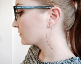 V Arc Earrings, Open Hoop Earrings, Minimal Geometric Earrings, Copper Jewelry