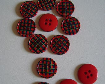 Red and green Plaid fancy - 4 holes - diameter 15 mm button