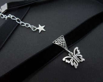 A ladies/girls black velvet 10mm (half inch) choker & butterfly  charm necklace.