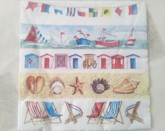 set of 2 napkins paper boats, seaside flags