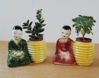 Pair of Vintage Asian Planters • Mid Century Asian Planters • American Pottery