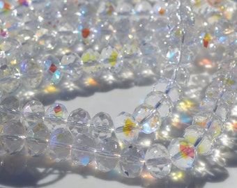 Crystal Clear AB Faceted 10x8mm Rondelle Beads 25