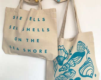 She Sells Sea Shells screenprinted cotton beach shoulder bag