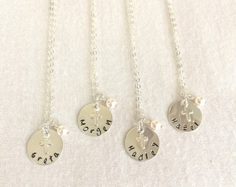 Confirmation Necklace, First Communion, Cross Necklace, Little Girl Baptism Necklace, Religious Necklace, Catholic Necklace, Name Necklace