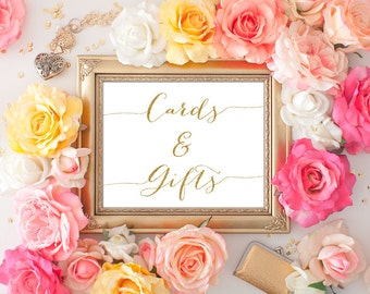 Cards and Gifts Wedding Sign - 8x10 Wedding Printable Art, Printable Wedding Sign, Gold Wedding, Reception Printable
