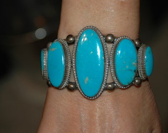 Stunning Vintage Navajo Blue Gem Turquoise Heavy Sterling Bracelet  Circa 1970's Hallmarked LTB 89 Grams