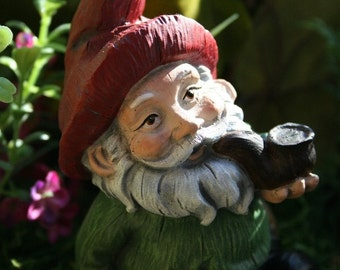 Garden Gnome - Pipe Smoking Funny Lawn Gnome