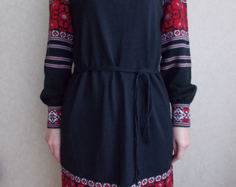 Dress Ukrainian style Ukrainian Black dress embroidered dress Boho chic embroidered dresses Boho Ethnic Garments Knitted Dress