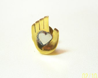 Vintage Heart in Hand Mixed Metal Pin