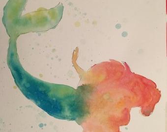 Little mermaid watercolor. Original
