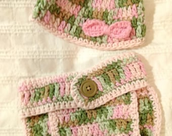 2 Pc DIAPER COVER & BEANIE Set - Baby Girl Camo - Ready to Ship! 3-9months