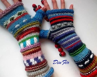 Women Size L 20% OFF Ready To Ship Hand Knitted Gloves Accessories Bohemian Fingerless Mittens Warm Wrist Warmers Mohair Striped Arm 1248