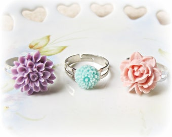 Botanical Jewelry Ring Set Pastel - Floral Rose Purple Pink Aqua Blue -  Jewellery Adjustable