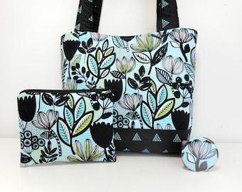 Aqua Floral Tote Bag Set, Medium Purse with Accessories, Intermix Fabric Purse Set