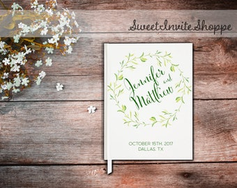 Greenery Wedding Guest Book, Wedding Guest Book, Green Leaves Guest Book, Mountain Wedding Guest Book, Greenery Wedding, Custom Guest Book