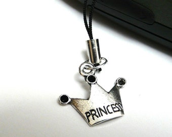 Princess Crown Cell Phone Charm / Purse Charm / Scissors fob / Car Charm / Zipper Pull