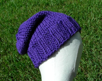 Slouch Hat, Tam, Beanie, Beret, Stocking Cap Purple Eggplant 100% Merino