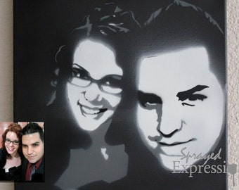 """Customizable Couples Portrait Spray Painting, 12""""x12"""" Canvas - Made to Order"""