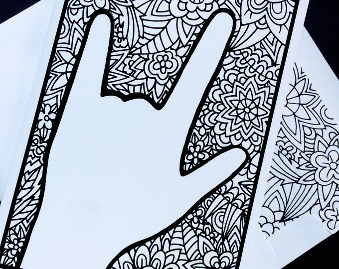 ASL I Love You Floral Zentangle Notecard - American Sign Language -  5x7 - Suitable for Framing - Greeting Card