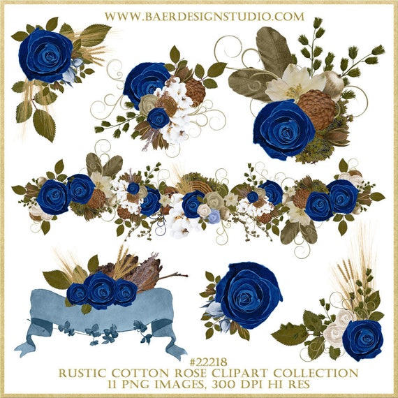 Rustic Wedding Clipart Roses Clip Art Blue Rose