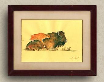 PRINT-American Bison Buffalo art wall  calf animal print of watercolor original  forest  portrait - Art Print by Juan Bosco
