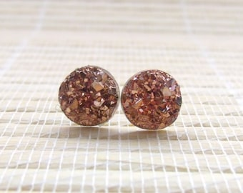 Rose Gold Druzy Faux Studs Rose Gold Plated 10mm