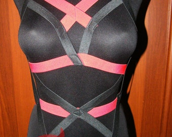 Black and Red Harness Bondage Body Cage plus size and regular size open crotch lingerie