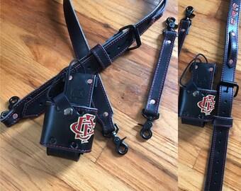 Firefighter-Radio Strap & Holster (Full Set)   (Black) Custom Personalized Firefighter/EMS-Firefighter Gift