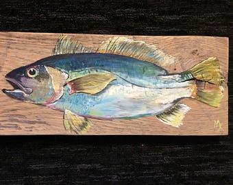 Silver Perch on reclaimed white oak wood