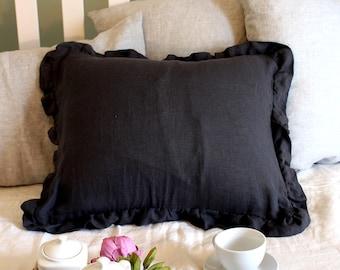 Gray linen ruffled sham -14 colors-linen pillowcase- linen pillow cover- Ruffled pillow sham -Available sizes #Secret maison#