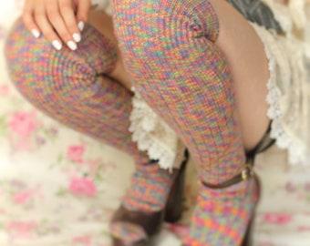 RAINBOW CANDY OverKNEEHIGH fairisle Socks Winter Wool stockings  Classic Over the Knee Socks  Ribbed Wool Grunge Steampunk Socks plus size