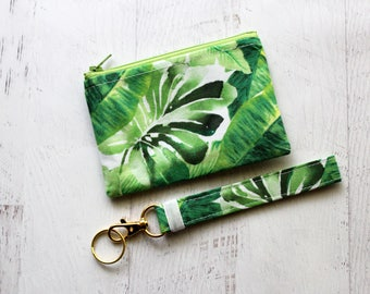 Mothers day gift - palm leaf bag - key fob wristlet - under 20.00 gifts for mom