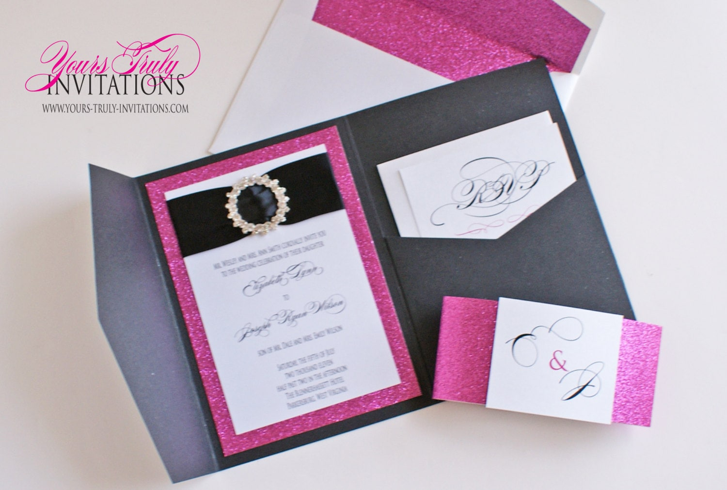 Perfect Hot Pink And Black Wedding Invitations Gallery - Invitation ...