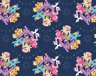 My Little Pony Fabric MLP Fabric Ponies in Navy Blue From Camelot 100% Cotton