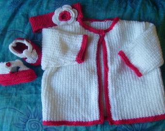 vest set dress, booties and headband for girl