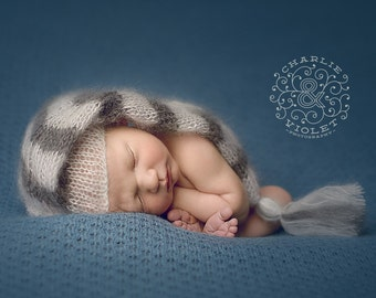 PDF Knitting PATTERN for beginners - Newborn Baby Elf Hat. Size 0-1 month. Made with straight needles. Written in US terms