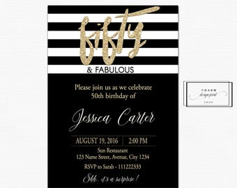 Fifty and fabulous invitations, 50th Birthday Invitation, 50th Birthday Invitation for Women, 50 and Fabulous Invitations, black gold