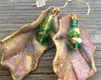 On Sale Lavender Copper Gold Green Glittered Leather Holly Earrings